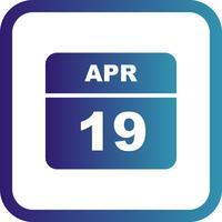 19 april Datum op een eendaagse kalender
