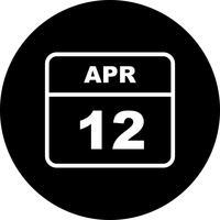 12 april Datum op een eendaagse kalender