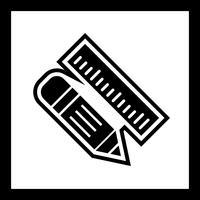 Potlood en liniaal pictogram ontwerp