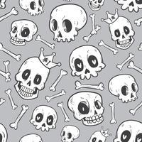 naadloze patroon schattig doodle schedel collectie