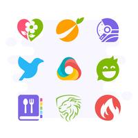 Creative Pictorial Logo Collection. Eenvoudig en verbluffend logo-ontwerp in vlakke stijl. Bloem, Orange, Astronaut, Vogel, Driehoek, Bubble Chat, Receptboek, Leeuw, Brandlogo vector