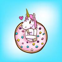 schattige eenhoorn en donuts