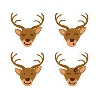 Herten emoticon of emoji instellen in kinderen boek stijl illustratie