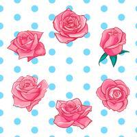 Bloemenrozen, knoppen en groene bladeren. Rozen Set collectie. roos pictogram en symbool vector