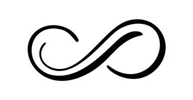 Infinity kalligrafie vector illustratie symbool. Eeuwig grenzeloos embleem. Zwart mobius lintsilhouet. Moderne penseelstreek. Cycle endless life-concept. Grafisch ontwerpelement voor kaart- en logotatoegering