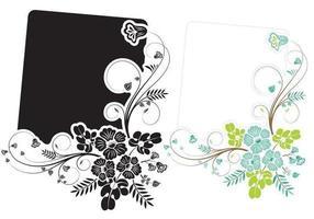 bloemen swirly banner vector pack