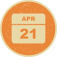 21 april Datum op een eendaagse kalender
