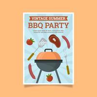 Platte retro BBQ-feest poster vector