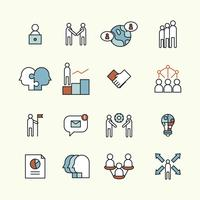 Geschetste reeks pictogrammen over teamwork