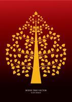 Gouden Bodhi-Thaise de kunststijl van het boomsymbool, vectorillustratie vector