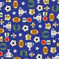 sport ballen en trofee patroon op blauwe achtergrond vector