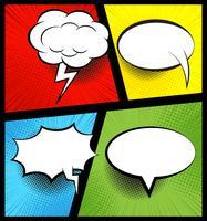 Kleurrijke stripboekachtergrond met lege witte tekstballonnen van verschillende vormen in pop-artstijl. Stralen, radiaal, halftone, gestippelde effecten. vector