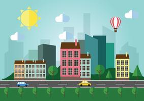 Platte ontwerp stedelijk landschap vector