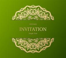Elegant Save The Date-kaartontwerp. Vintage bloemen uitnodigingskaartsjabloon. Luxe swirl mandala groet gouden en groene kaart vector