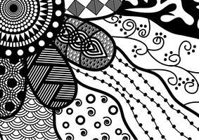 naadloze voorraad vector floral zwart-wit doodle patroon