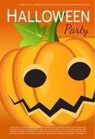 Vector Halloween-partijaffiche. Pompoen