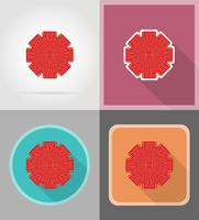 rode boog voor cadeau plat pictogrammen vector illustratie