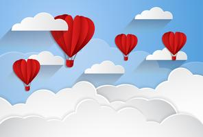 happy valentines day, paper cut style, balloon flying and hearts decorations