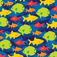 overlappende vis patroon op blauwe achtergrond vector