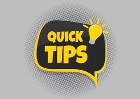 Snelle tips badge, banner vector met gloeilamp en tekstballon
