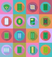 rechter speelplaats stadion en veld voor sport games platte iconen vector illustratie