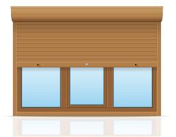 bruin plastic venster met glooiende rolluiken vectorillustratie