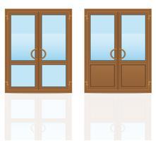 bruine plastic transparante deuren vectorillustratie vector