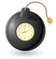 zwarte bom met een brandende lont en een uurwerk vectorillustratie