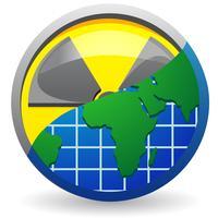 teken is een straling en een kaart van planeet vectorillustratie