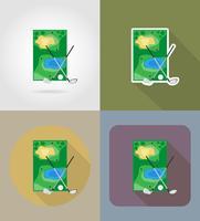 veld voor golf plat pictogrammen vector illustratie