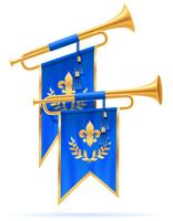 koning koninklijke gouden hoorn trompet vectorillustratie