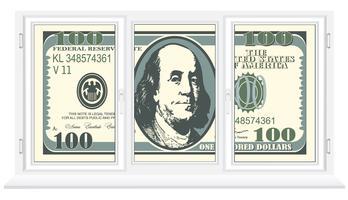 let op honderd dollar in een plastic venster vector
