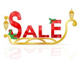 Kerstman slee trekken inscriptie verkoop vectorillustratie