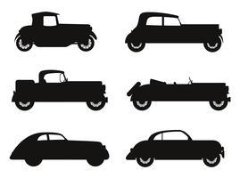 stel pictogrammen oude retro auto zwart silhouet vectorillustratie