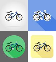 mountainbike plat pictogrammen vector illustratie