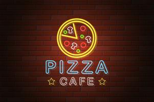 gloeiende neon uithangbord pizza café vectorillustratie