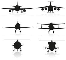 stel pictogrammen vliegtuig silhouet en helikopter vectorillustratie