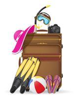 koffer met strand accessoires vectorillustratie