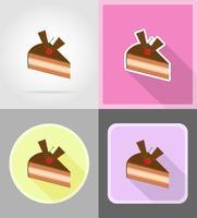 stuk chocoladetaart met kersen plat pictogrammen vector illustratie