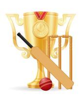 cricket cup winnaar gouden voorraad vector illustratie
