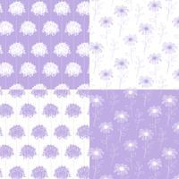 wit en lavendel hand getekende botanische bloemenpatronen vector