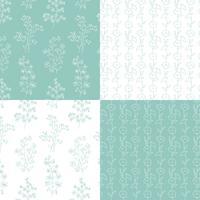 aqua blauw groen en wit hand getekend botanische bloemenpatronen vector