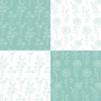 aqua blauwe groene en witte hand getrokken botanische patronen vector