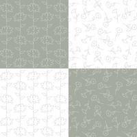 grijs en witte botanische bloemenpatronen