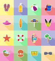 objecten voor recreatie een strand plat pictogrammen vector illustratie