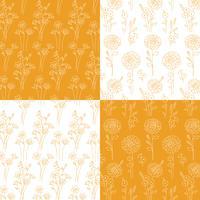 oranje en witte hand getrokken botanische patronen vector
