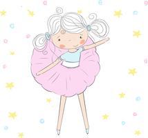 Schattige baby meisje balletdanser vector