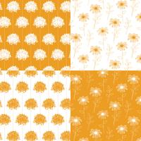 witte en oranje hand getekend botanische bloemenpatronen vector