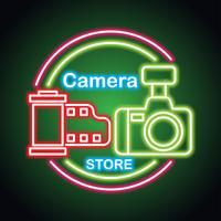 camera-apparatuur met neon-teken effect voor camera winkel vector