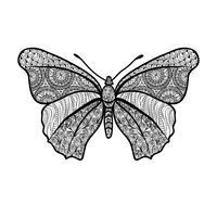 Vlinder geïsoleerd. Het bloemenelement van de de zomervakantie, oosters patroon